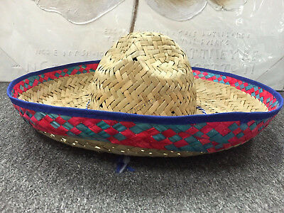 1x Mexican Spanish Straw Sombrero Hat Fiesta Fancy Dress Halloween Party Costume