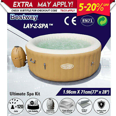 Inflatable Spa Massage Hot Tub Portable LAY Z Spa In/ Outdoor Bath Pool Bestway