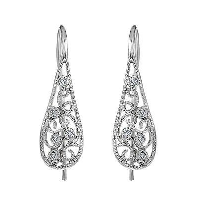 Sterling Silver Earrings 925 Micro Pave set Filigree style Jewelry Gift for Her