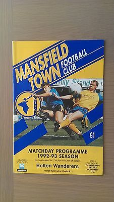 Mansfield Town V Bolton Wanderers 1992-93