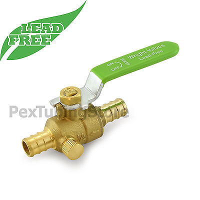 "1/2"" PEX Crimp Shut-Off Lead-Free Brass Ball Valve w/ Drain Outlet, Full Port"