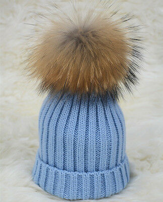 2016 Kids Pompom Hats Real  fur ball and Wool Cap Baby Winter Warm 1523S
