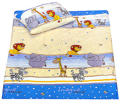 new baby toddler cot/cot bed bedding: pillowcase duvet cover sheet cotton blue