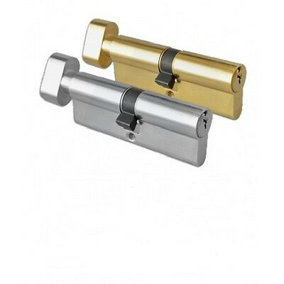 Thumbturn 6 Pin Anti Drill Euro Cylinder Door Lock Brass or Chrome All Sizes