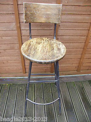 Rare Vintage Industrial Steel And Wood Swivel High Stool Chair