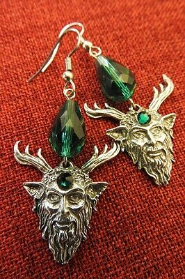 Celtic God Cernunnos Green Man Myth Swarovski Crystal Medieval Pewter Earrings