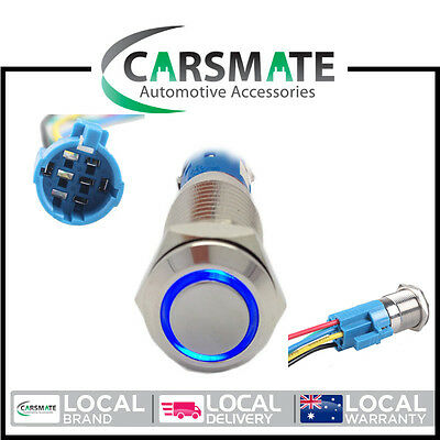 New Switch Push Button Latching 12v 19mm Blue LED Stainless Steel WITH PLUG