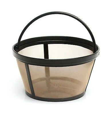 2 Pack Gold Tone Reusable Basket-style 10-12 Cup Coffee Filter with Solid Bottom