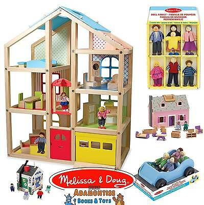 Melissa & Doug Wooden Doll House Dolls Car Early Learning Pretend Role Play