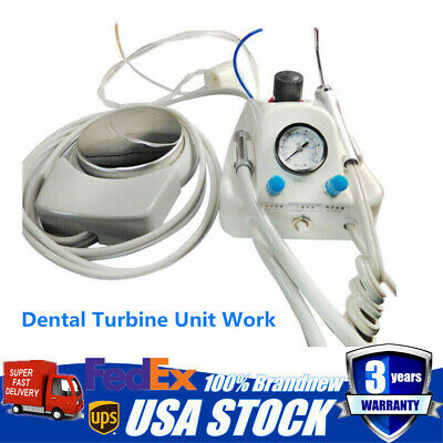 Portable Dental Turbine Unit Work W/Air Compressor 3 way Syringe Handpiece 4Hole