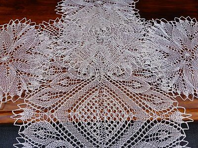5 Vintage Finely Hand Knitted Linen Lace Table Mats