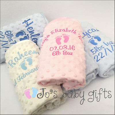 Personalised Luxury Baby Blanket,Soft Bubble Feel,Embroidered Gift, Boys & Girls