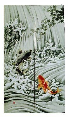 JAPANESE Noren Curtain NEW KOI FISH  MADE IN JAPAN