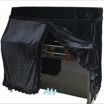 Black New Elegant Pleuche  Full Upright Piano Musical Instrument All Covers