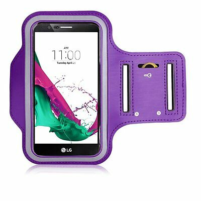 Sports Running Gym Workout  Armband for LG G4 HTC One M9 Samsung S6 Edge PURPLE