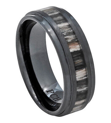 Black Ceramic Wedding Band with Real Zebra Wood Inlay 8mm Comfort Fit Ring