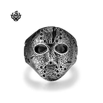 Silver bikies ring Friday the 13th mask replica stainless steel band soft gothic