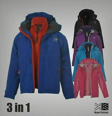 3 In 1 Boys Girls Karrimor Waterproof Breathable Jacket Fleece Sizes Age 7-13