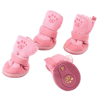 2 Pair Nonslip Rubber Sole Yorkie Doggie Warm Shoes Boots Booties Pink XS