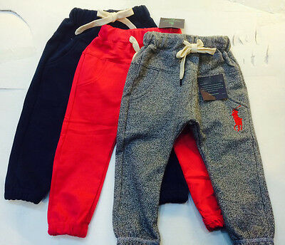 Kids Boys Girls Cotton Casual Sport Track Pants 4 Colors size 12M - 6Y