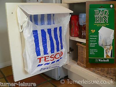 Carrier bag bin holder Turn plastic bag into waste rubbish bag in small kitchen