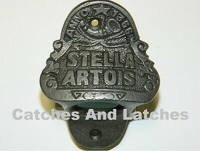 1 x BOTTLE OPENER 'STELLA ARTOIS' CAST IRON WALL MOUNTED + FIXINGS ** FREE P&P**