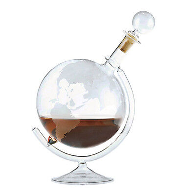 Wine Enthusiast Etched Globe Spirits Decanter Glass Decanter Stopper Cognac