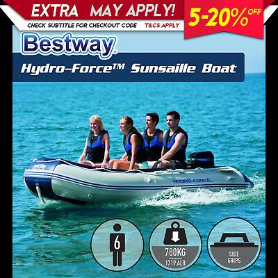 NEW BESTWAY 3.8M HYDRO-FORCE INFLATABLE BOAT Marine Grade Fishing Aluminum Oars