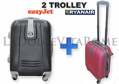 2 TROLLEY in ABS CABINA 2 BAGAGLIO A MANO RYANAIR EASY JET VALIGIA LOW COST