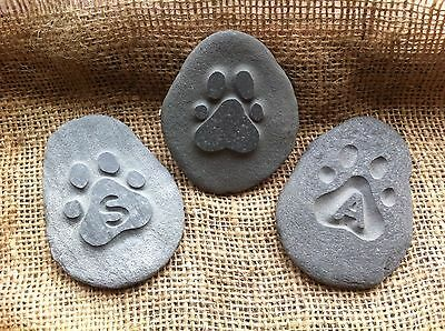 Handmade & carved Pet memorial pebble, garden, unique, plaque, cat, dog
