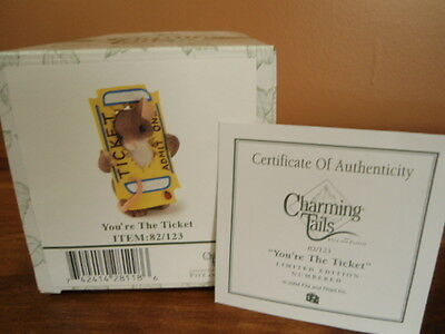 Fitz & Floyd Charming Tails Figurine 'You're The Ticket' NEW in Box w/ COA