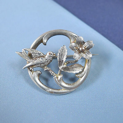 Victorian Sterling Silver Bird and Flower Brooch / Vintage Pin