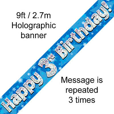 AGE 3 ' HAPPY BIRTHDAY ' PARTY  BANNER - HOLOGRAPHIC  -  3rd BLUE BOY - NEW