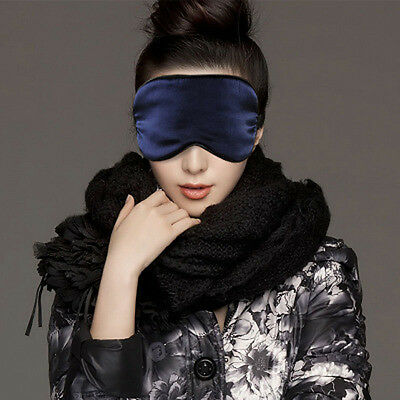 Fashion Pure Silk Sleep Eye Mask Padded Shade Cover Travel Relax Aid Blindfold