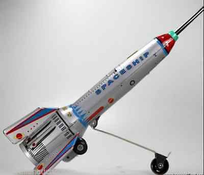 Retro Style Silver Space Rocket With Lift Action Great Collectable