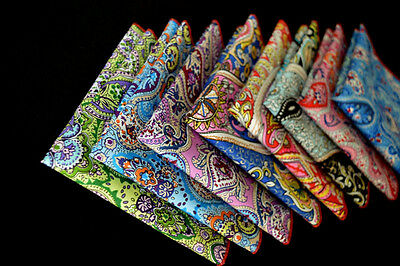 Men Vintage Paisley Floral Cotton Colorful Handkerchief Pocket Square Hanky