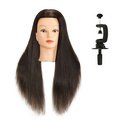 "100% human hair 22"" Salon Hairdressing Head Mannequin +Clamp Training Doll Model"