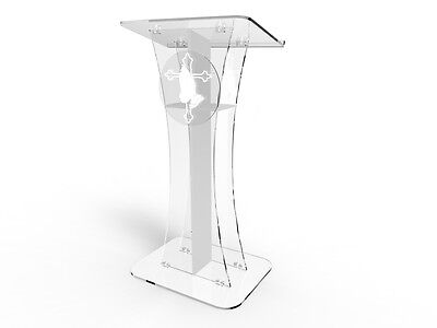 Acrylic/Podium/Lectern/Pulpit/Plexiglass/Lucite/clear with center cross 1803-310