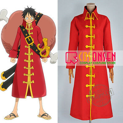 One Piece Film Z Monkey D Luffy Cosplay Costume Red Trench