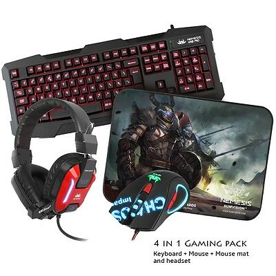 NEMESIS CHAOS GAMING PACK OPTICAL MOUSE KEYBOARD MAT HEADSET MIC for PC & LAPTOP