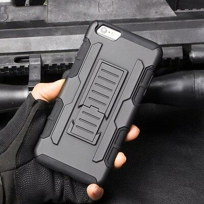 Heavy Duty Shockproof Hybrid Armor Rugged Stand Belt Clip Case Cover For iphone