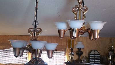 Pair 1920s Lincoln Chandeliers Art Deco 100% Restored Gorgeous!!! Rare!