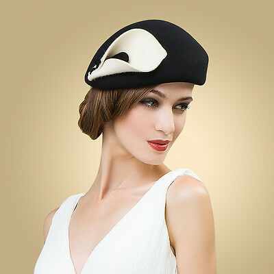 88e5855247c A209 Ladies vintage Beret Felt Wool Fascinator Cocktail Cheltenham Fesitval  Hat