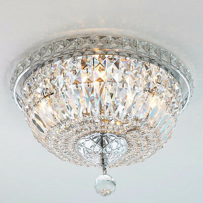 "USA BRAND Empire 4 Light Clear Crystal Flush Mount Ceiling Light 14"" Round"