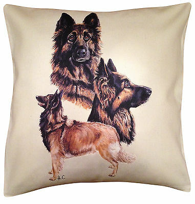 Belgian Tervuren Group Cotton Cushion Cover - Cream or White Cover - Gift Item