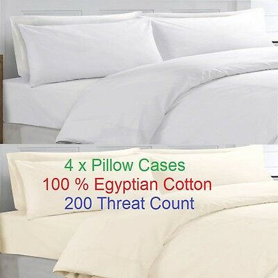 4 x  Pillow Cases 100% Egyptian Cotton Pillow cases Housewife Hotel Quality