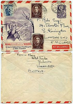 AUSTRIA POSTAL STATIONERY BALLOON POST ILLUST.to GB..GERMANY BOXED AUGSBURG 1949