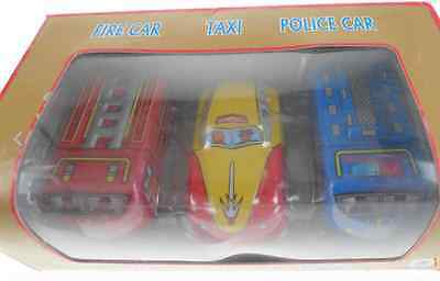 3 Wind Up Tin Toy Fire Car Taxi Police Collectable