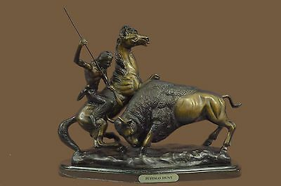 BUFFALO HUNT by C.M. Russell Bronze Metal Sculpture Statue Cowboy Horse & Bull
