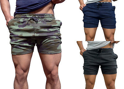 Mens Cotton Shorts tapered leg bodybuilding Gym Track running plain Casual camo